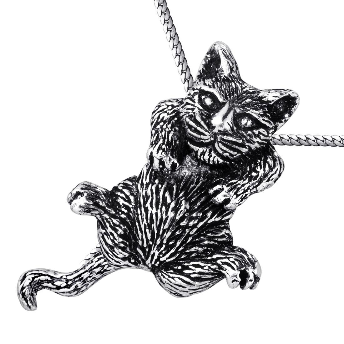 MATERIA Katzen Anhänger Silber 925 antik mit beweglichem Körper für ...