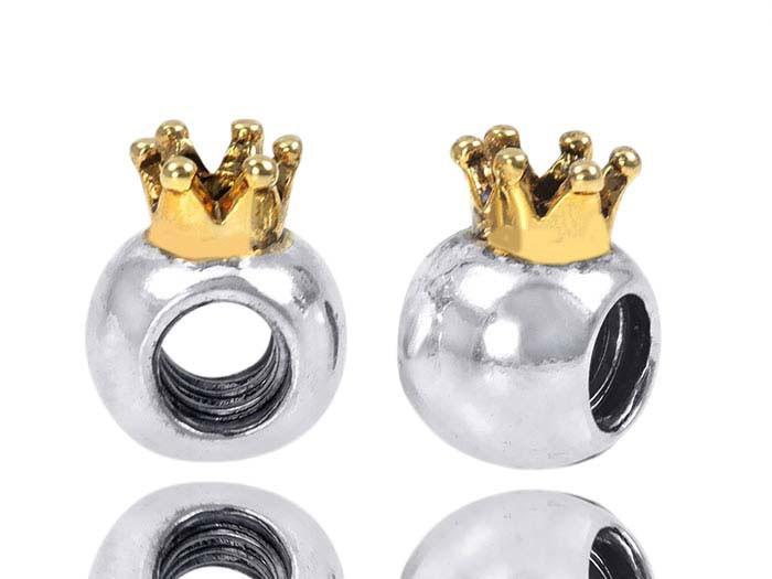 925 Silber Beads Gewinde Element - Bead Krone 14k gold Beads Kugel teilvergoldet für Beads Armbänder mit Gewinde #759