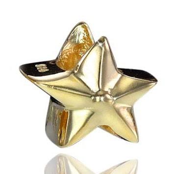 MATERIA 925 Silber Beads Gold Stern Anhänger für Europen Beads Armband / Kette #40