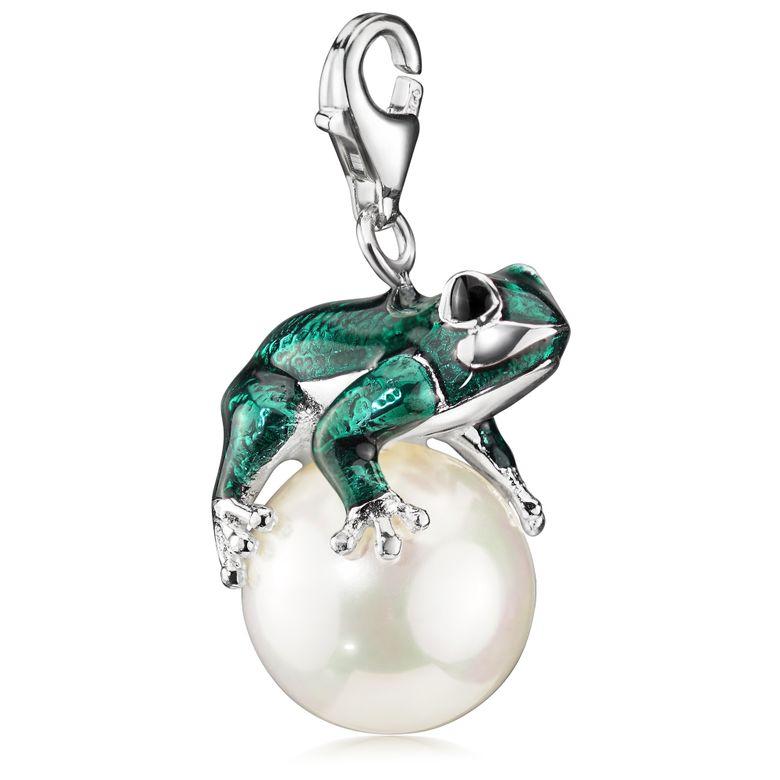 Materia Frosch Charms Silber Anhänger - Charm Frosch auf Perle aus 925 Silber für Charms Bettelarmbänder & Ketten #C33