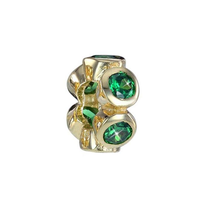 MATERIA Zirkonia Beads Perle grün - Gold Bead Anhänger für Armband