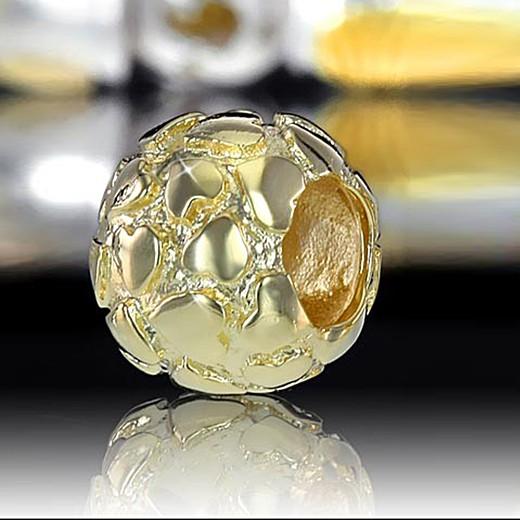 Gold Beads Kugel mit Herzen aus 925 Sterling Silber / 14k vergoldet