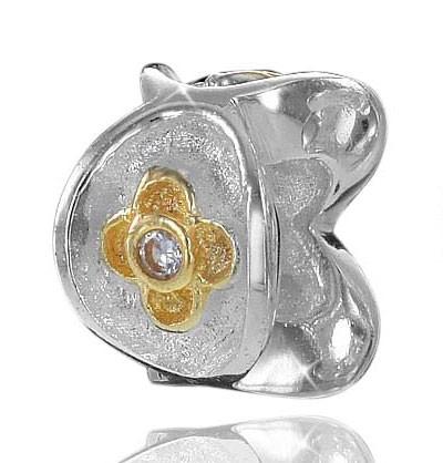 925 Sterling Silber Bead Element Gold Zirkonia - Beads Modell: #725