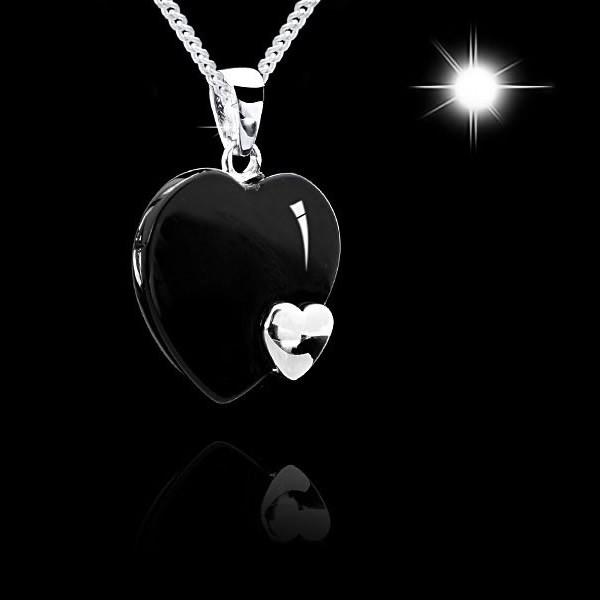 MATERIA Schmuck 925 Sterling Silber Kettenanhänger Onyx Herz silber - Silber Anhänger für Halskette bis 3mm #KA-78