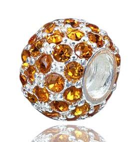Weißkupfer Kristall Bead doppelt versilbert Orange - Beads Modell: #210