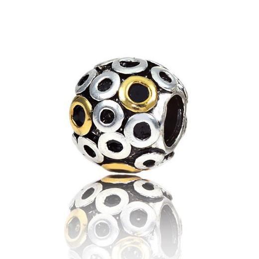MATERIA Silber 925 Bead Kugel Kreise vergoldet für Armband