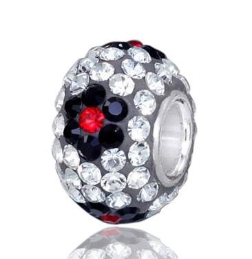 MATERIA Kristall Beads Kugel Blume - Strass Anhänger weiß schwarz für Beads Armband #363
