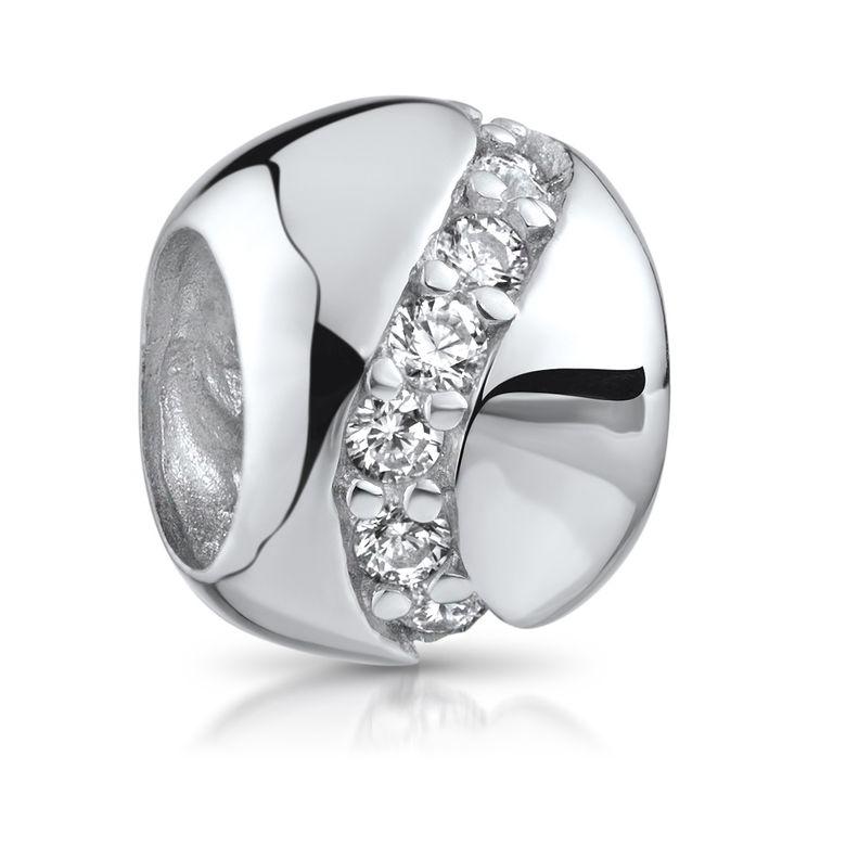 MATERIA Spacer Beads Kugel Silber 925 Damen - Zirkonia Zwischenelement Anhänger für Beads Armband 1518