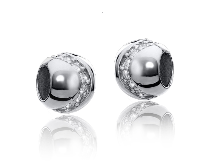 MATERIA Spacer Beads Kugel Silber 925 Damen - Zirkonia Zwischenelement Anhänger für Beads Armband #1518