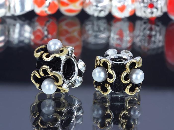 Weißkupfer Bead Gold doppelt versilbert Perle - Beads Modell: #128 - Element für Armband