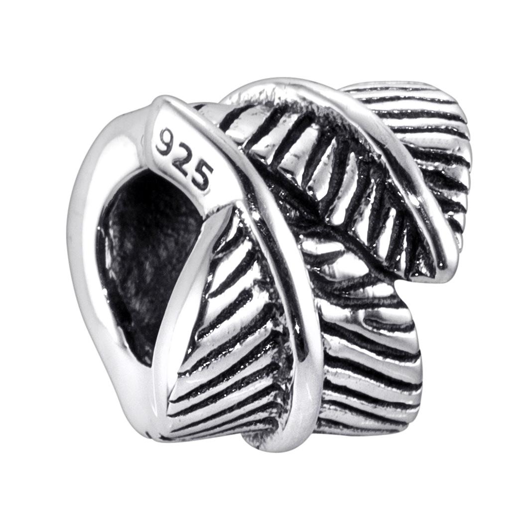MATERIA Damen Bead Anhänger Feder 925 Sterling Silber antik Charm