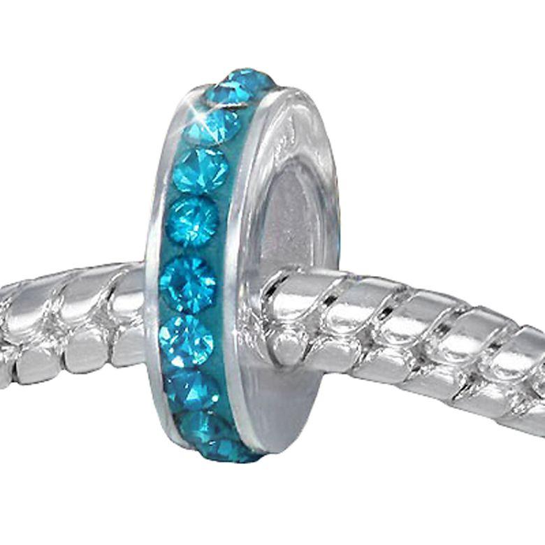 MATERIA Spacer Bead 925 Sterling Silber Kristall türkis für Armband oder Kette #642