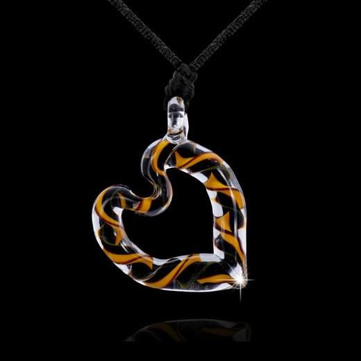 MATERIA Muranoglas Herz Anhänger schwarz orange - Glas Kettenanhänger Herz mit Stoff Halsband schwarz #KA-72