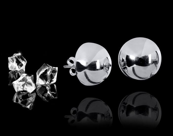 925 Sterling Silber Ohrstecker Kugel Ø 4mm - Silber Ohrringe schlicht Halbkugel inkl. Schmuck Schachtel / Box #So-88s