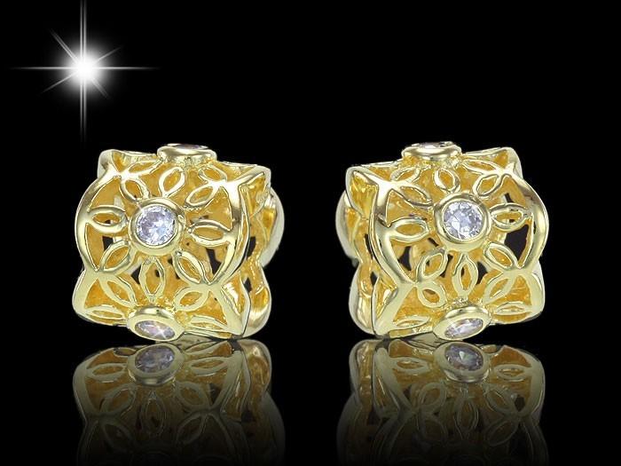 MATERIA Silber 925 Beads Gold Anhänger Zirkonia - European Beads Blumen Element 14k Gold vergoldet  #986