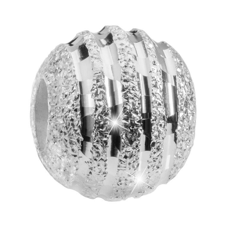 MATERIA Beads Anhänger Stardust 925 Sterling Silber diamantiert Glitzer Kugel mit Box #383