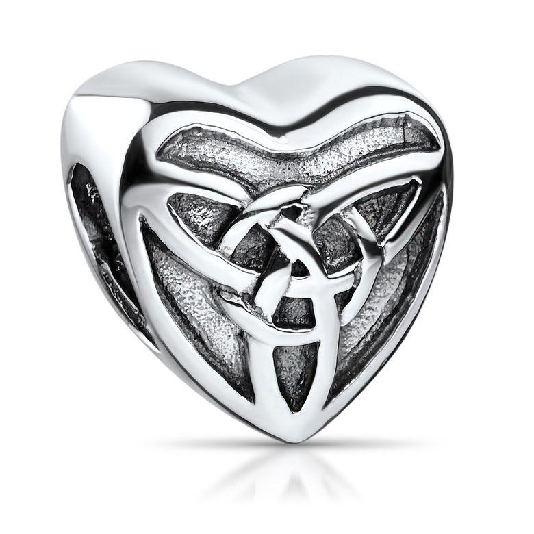 MATERIA Bead 925 Silber antik Herz - Charm mit Symbol Keltischer Knoten für Beads Armbänder & Ketten #352