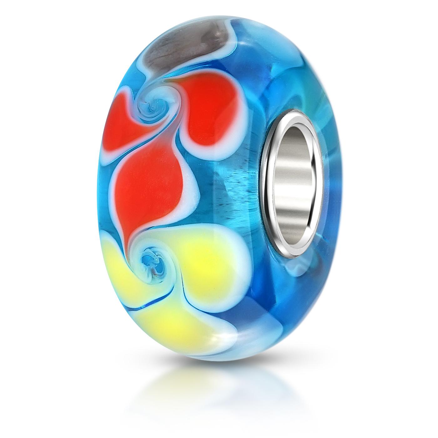 MATERIA 925 Silber Murano Beads Glas Perle blau bunt Element