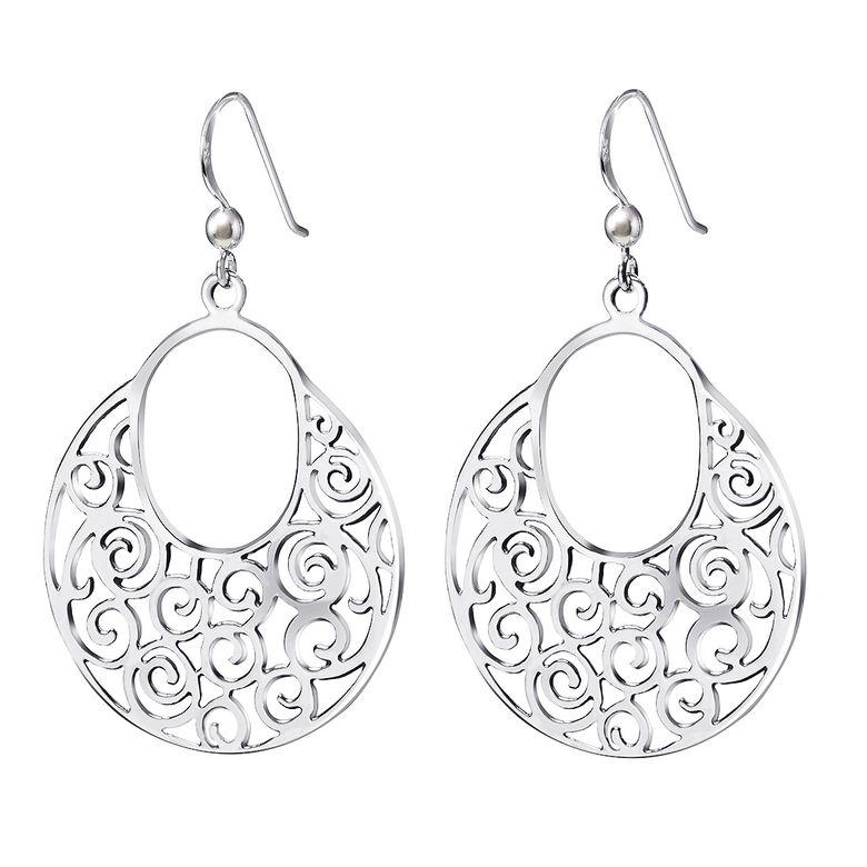 MATERIA Runde Ohrhänger Damen Ornamente orientalisch - große Ohrringe 925 Silber Ohrschmuck mit Geschenk-Box SO-60