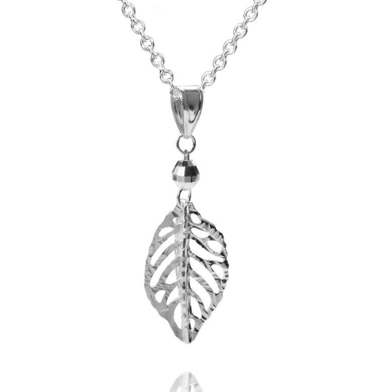 MATERIA 925 Silber Kettenanhänger Blatt mit Glitzer Kugel diamantiert 3D-Motiv für Halsketten / mit Box #KA-86