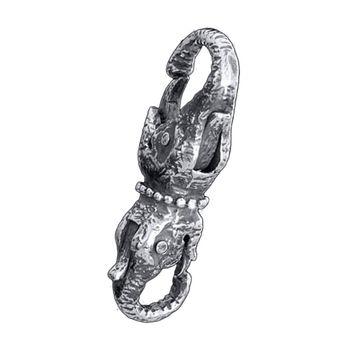 MATERIA Karabiner Verschluss Elefant mit Stoßzähnen - Doppelkarabiner 925 Silber antik zum Wechseln für Armband 310