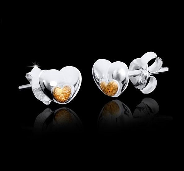 Silber Ohrstecker Gold - Damen Ohrringe Herz aus 925 Sterling Silber / 14K vergoldet 7x7mm Lieferung inkl. Schmuck Box #SO-105