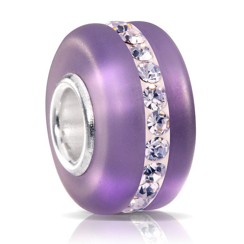 MATERIA Murano Glasperle lila mit weißen facettierten Kristallen - Strass Beads Anhänger 925 Silber mattiert 1571