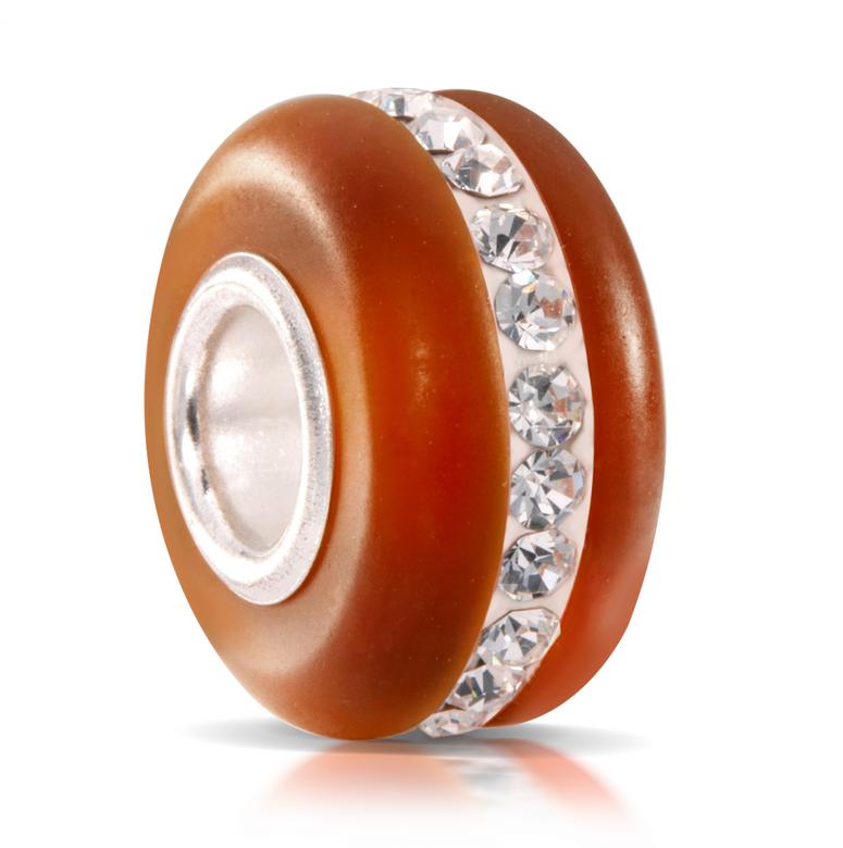 MATERIA Murano Glasperle dunkel orange mit facettierten Kristallen - Strass Beads Anhänger 925 Silber mattiert 1572