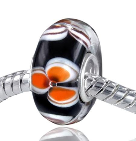925 Sterling Silber Murano Glas Bead Schwarz / Orange Blüte - Element für Armband - Beads Modell: #550