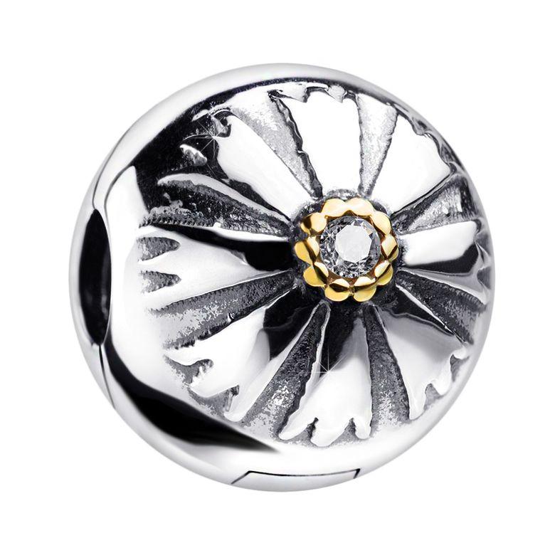 MATERIA Charms Clip Sonne 925 Silber - Beads Stopper Zirkonia vergoldet für Armbänder Ketten / mit Etui #1555