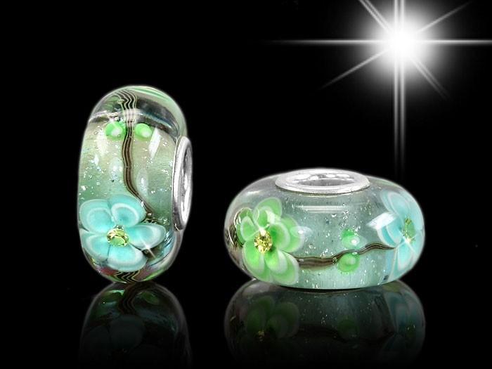 MATERIA Schmuck Muranoglas Beads Zirkonia Anhänger Blumen  - 925 Silber Beads blau grün Glasperle #943