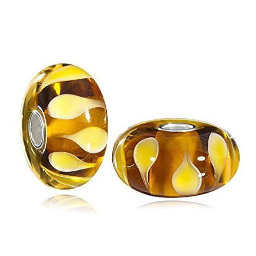 MATERIA XXL Muranogals Beads Anhänger Tropfen - 925 Silber Kettenanhänger orange 10x20mmn #422