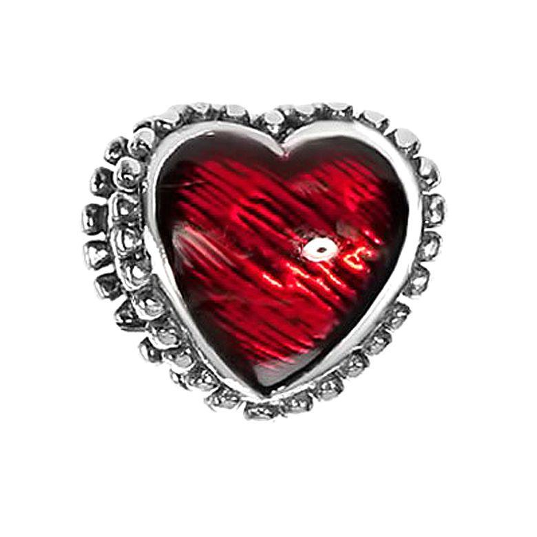 MATERIA Beads Anhänger Herz 925 Silber antik mit roter Emaille Premiumqualität + Schmuckbox #1627