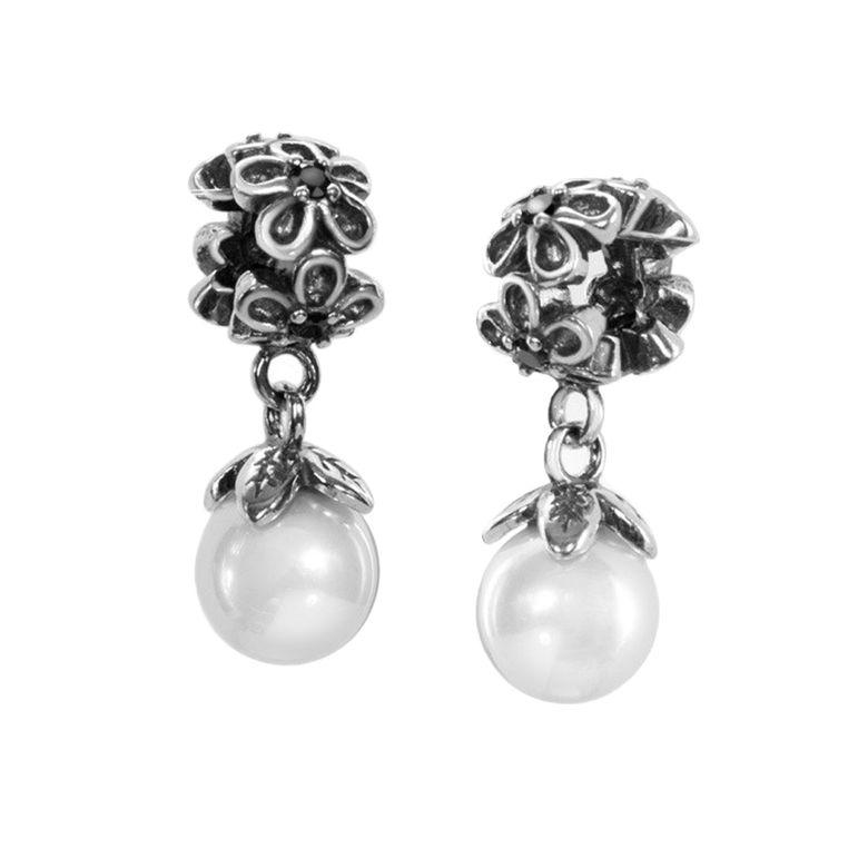 MATERIA Dangle Beads Perlen Anhänger Silber 925 Blüten mit Zirkonia Premiumqualität inklusive Box #1629