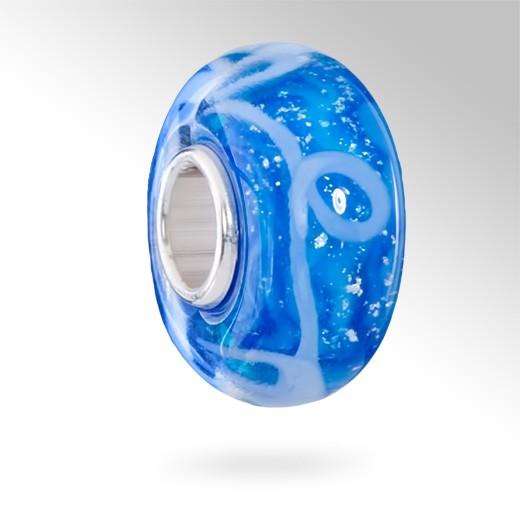 MATERIA 925 Sterling Silber Murano Beads blau türkis Element - Muranoglas Beads blau mit Glitzer Folie türkis #1633