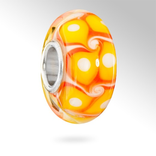 MATERIA Muranoglas Beads gelb orange Element - 925 Silber Murano Beads Glas in orange gelb mit weiß #1637