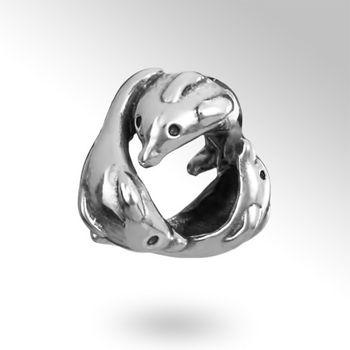MATERIA Antik Bead Delphin Tanz silber - Fisch Beads Tiere Element aus 925 Sterling Silber für Beads Armband #1636