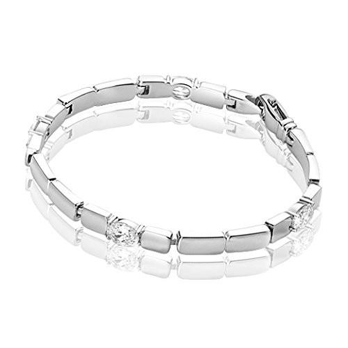 MATERIA Zirkonia Armband 18cm/19,7g - 925 Silber Armband rhodiniert inkl. Holzbox deutsche Juwelieranfertigung #JA-1