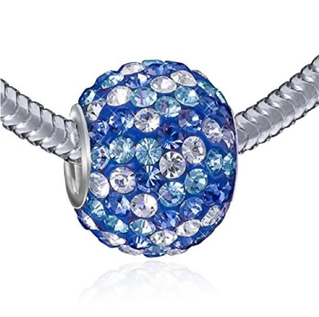 MATERIA XXL Silber Beads Strass 12x16mm Element - 925 Silber Beads Kristall Kettenanhänger Kugel blau weiß #1089