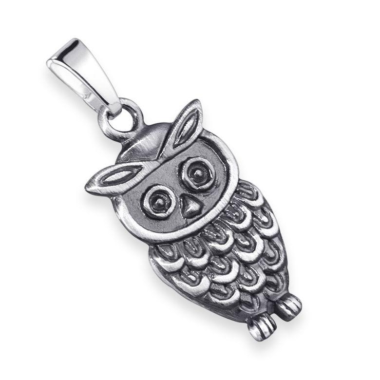 MATERIA Eulen Ketten-Anhänger Damen Kinder 925 Silber Schmuck Tier Vogel mit Geschenk-Box und Halskette KA-33