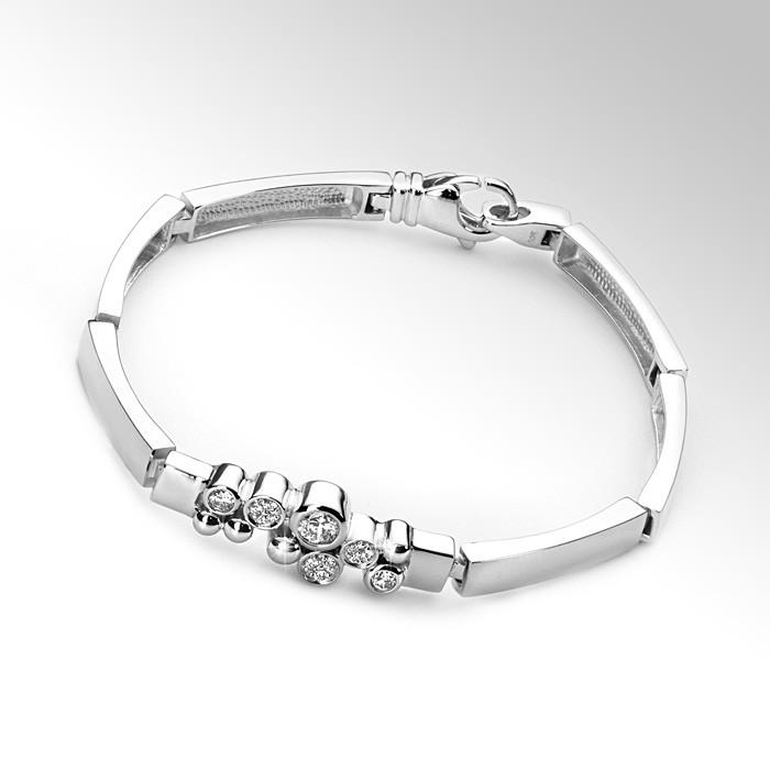MATERIA Zirkonia Armband REGENTROPFEN 19cm/18g - 925 Silber Armband rhodiniert + Holzbox deutsche Juwelieranfertigung #JA-3