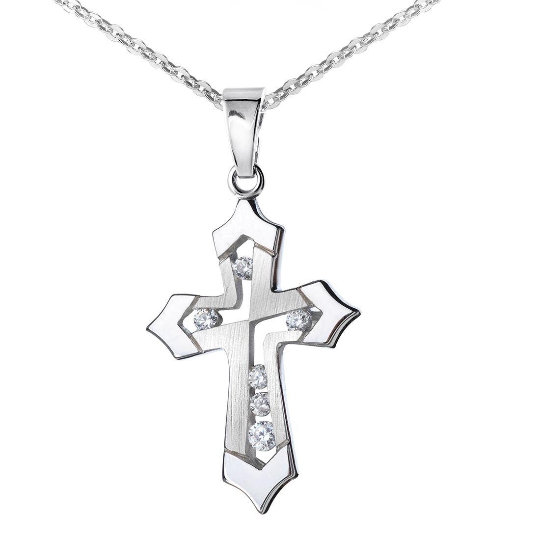 Materia Damen Kreuz Anhänger Silber 925 Zirkonia rhodiniert