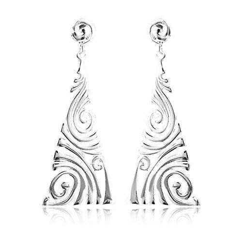 MATERIA Dreieck Ohrringe lang Silber 925 VORTICE - Schmuck Ohrhänger Wirbelmuster 19x49mm + Schmuckbox #SO-121