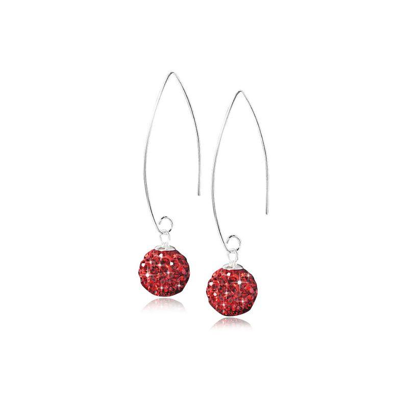 MATERIA Durchzieher Ohrringe Kristall Kugel Silber 925 Rot Damen + Box SO-123r
