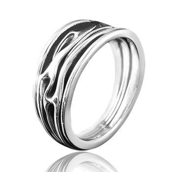 MATERIA Herren Ring Silber 925 Antik mit Wellenmotiv massiv inklusive Schmuckbox #SR-25