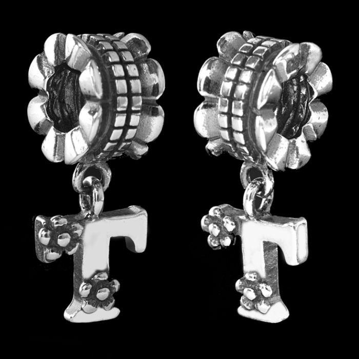 MATERIA 925 Silber Beads Anhänger Buchstabe T - Silber Beads Dangle T Buchstabe mit Blumen antik #1652