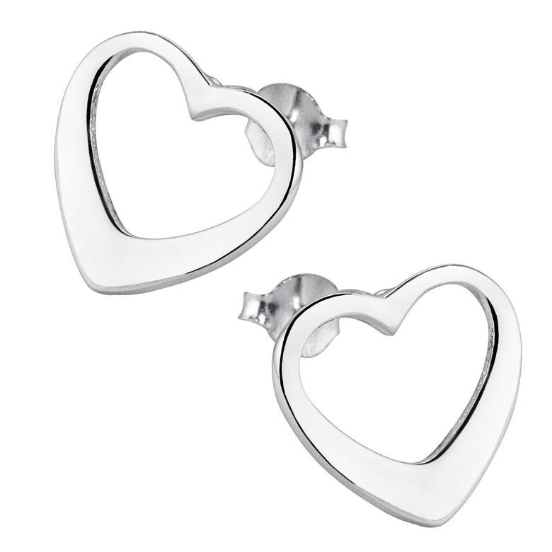 MATERIA Herz Ohrstecker Damen Mädchen 925 Silber Ohrringe Stecker Herzen Liebe offen mit Schmuck-Box #SO-136