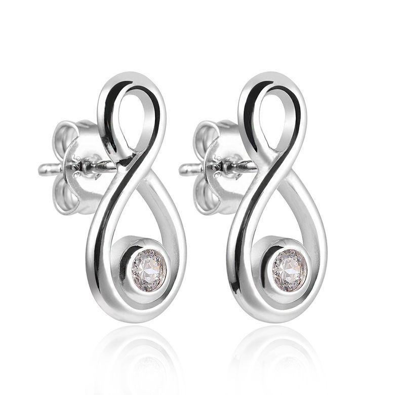 MATERIA Schmuck 925 Silber Ohrstecker Zirkonia - Damen Ohrringe Stecker Unendlichkeit Symbol rhodiniert #SO-141