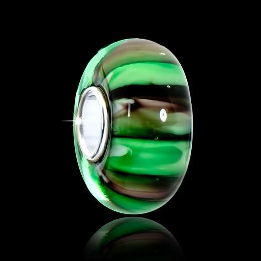 MATERIA Muranoglas Beads braun grün Element - 925 Silber Murano Beads Glas grün braun gestreift #1663