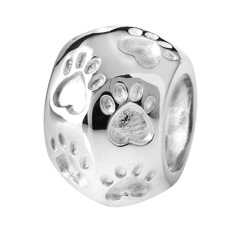 MATERIA 925 Sterling Silber Beads Anhänger Pfoten Tierpfoten Kugel rhodiniert / deutsche Fertigung #93